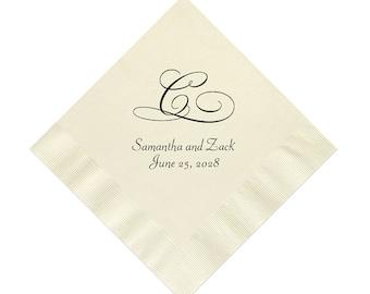 Initial Wedding Napkins Personalized Set of 100 Monogrammed Elegant Monogram Reception Cocktail Supplies