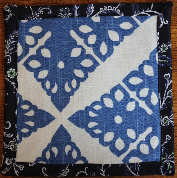 Fabric Trivet / Mug Mat Blue pattern