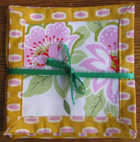 "Fabric ""Sunshine"" Coasters Set of 4 - yellow, pink, green"