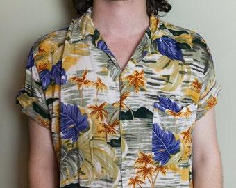 M Hawaiian Bright Summer Palm Trees Button Up Short Sleeve Shirt
