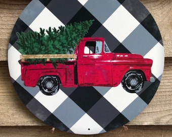 red truck decor wreath blank vintage truck sign wreath attachment wreath sign red truck sign wreath supplies craft supplies sign christmas s