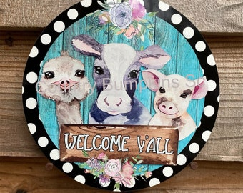 Welcome y'all sign farmhouse decor wreath sign wreath attachment wreath supplies craft supplies metal sign