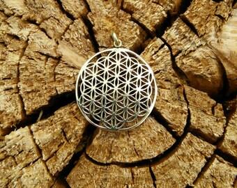 Sacred Flower of Life Pendant in Brass