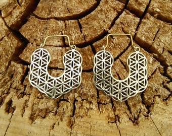 Sacred Flower of Life Earrings in Brass