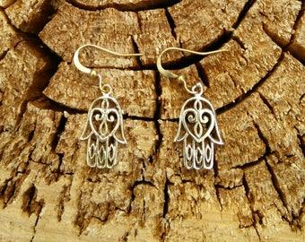 Small Fatma Hand Earrings in Brass