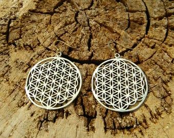Sacred Flower of life Brass earrings