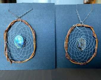 Natural Willow Branch Pendant Woven with Abalone