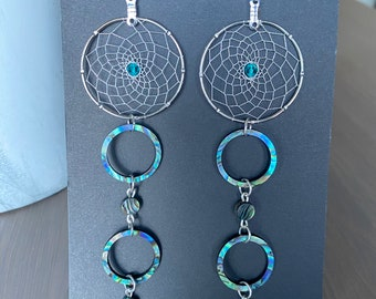 Woven Dreamcatcher Earrings with Swarovski Crystals, and Abalone - Made on Vancouver Island