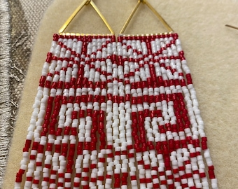 Gold Triangle Beaded Earrings - Delica Beads - Red, White, Metallic