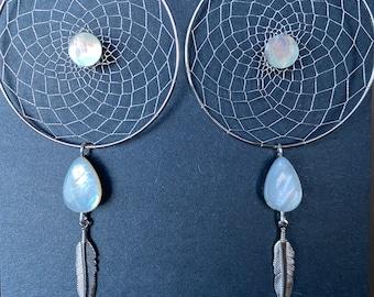 Silver Woven Dreamcatcher Earrings - Teardrop Mother of Pearl - Feather