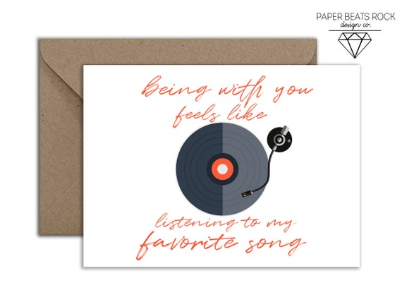 Vinyl Birthday Card Music Lover Anniversary Being With