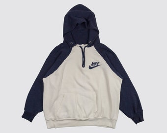 1ded84e37 80s NIKE HOODIE two tone colorblock nike hooded sweatshirt Nike Pullover  jumper Just do it Swoosh blue cream 1980s Vintage Adult Small
