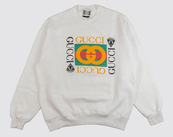 ac80592efed 90s GUCCI SWEATSHIRT bootleg gucci crewneck sweater white high fashion  designer dapper dan 1990s Vintage Adult Large