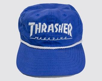 c34e2510a1f 90s THRASHER SNAP BACK blue thrasher cap Thrasher Magazine skate  skateboards hat skater 1990s Vintage Adult One Size