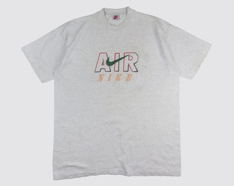 6dafdc61 90s NIKE AIR TSHIRT bootleg nike shirt Swoosh Just do it embroidered nike  tee gray grey jordan 1990s Vintage Adult xl xxl 2xl