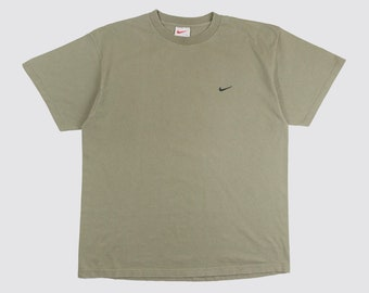 ccb14a7a 90s OLIVE NIKE TEE olive green nike tshirt Swoosh nike shirt Just Do It  oversized basic minimal simple 1990s Vintage Adult Large xl