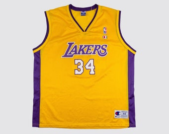 3878615dfe6 90s CHAMPION SHAQ JERSEY shaquille o neal jersey Los Angeles Lakers purple  gold 34 shaq attack 1990s Vintage Mens Large