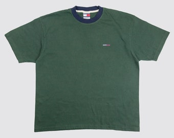 13ecc89f17729 90s TOMMY HILFIGER RINGER tommy jeans tshirt green ringer tee tommy flag  earth tone green neutral forest minimal 1990s Vintage Adult xl