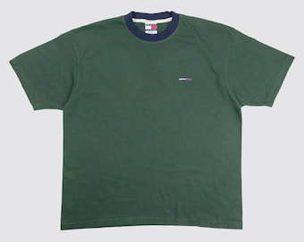 ad63a3a9528 90s TOMMY HILFIGER RINGER tommy jeans tshirt green ringer tee tommy flag  earth tone green neutral forest minimal 1990s Vintage Adult xl