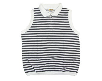 SLEEVELESS STRIPED TOP  black stripes / white stripes / black and white striped top / collared / 80s 90s vintage / womens / medium