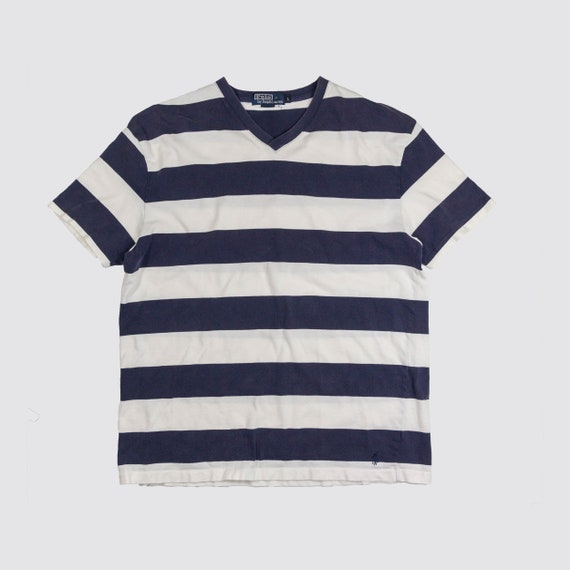 Striped Stripe Lauren Stripey Vneck Tshirt Polo Navy Large Tee White Shirt Border Blue Minimal Vintage Adult Simple Ralph 7gyb6Yf