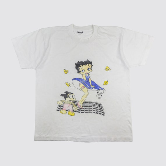 vintage betty boop tshirt 90s cropped white oversized