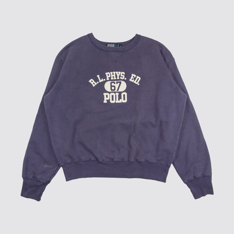34022519c680a 90s POLO RL CREWNECK polo ralph lauren pullover sweatshirt r.l. phys. ed 67  sweater blue white 1990s Vintage Adult Large