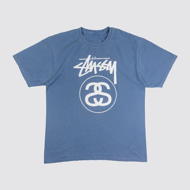 8d6acaff346 BLUE STUSSY SHIRT stussy tshirt Classic Logo tee stussy world