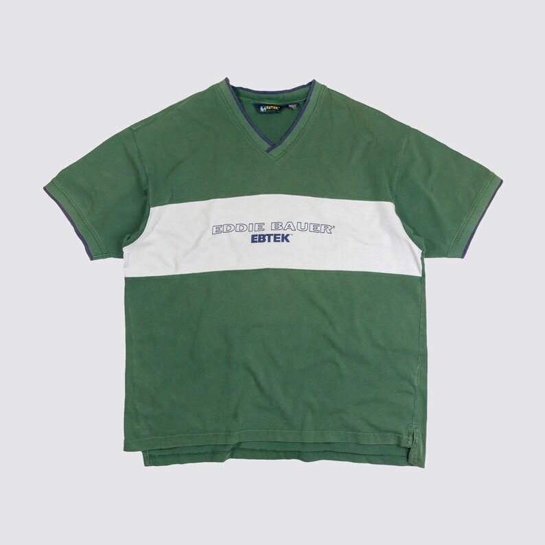 55d5d74feeb 90s EDDIE BAUER SHIRT green white striped vneck tshirt ebtek   Etsy