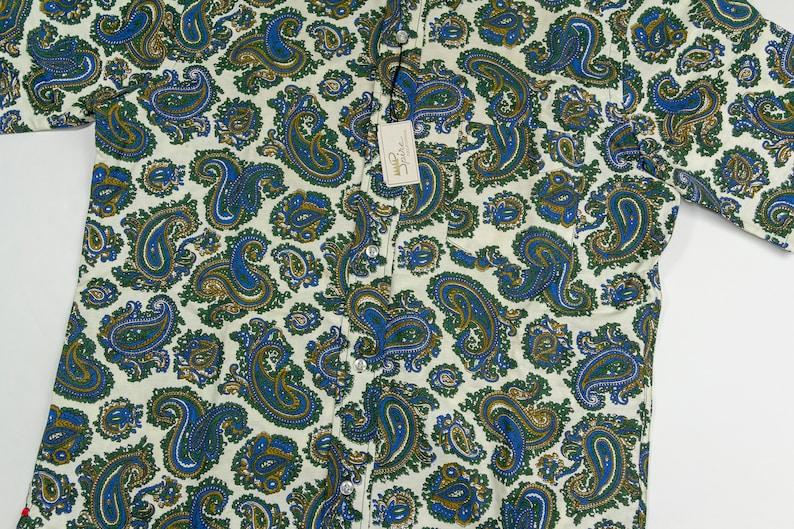 Vintage Deadstock 70s Paisley Print Shirt Paisley Motif Short Sleeve Shirt Sobel/'s Made in USA Combed Cotton 1970s Adult Medium
