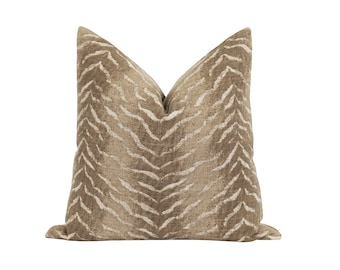Tiger Print Pillow Cover, Neutral Decor Pillow, Brown Wheat Ombre Pillow Cover, Animal Skin Decorative Pillow, Brown Linen Blend Pillow Case