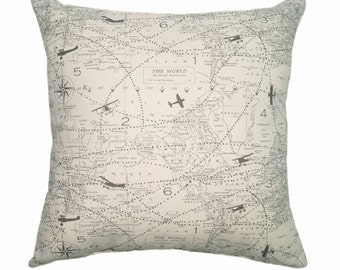Map pillow case etsy map zippered pillow cover planes accent pillow cover air traffic felix aviation map decorative pillow cover fathers day gift idea gumiabroncs Choice Image