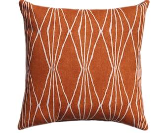 Orange Pillow Burnt Orange Pillow Cover Handcut Shapes | Etsy