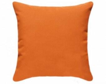 Sunbrella Canvas Tangerine Indoor/ Outdoor Pillow Cover, Orange Designer Outdoor Pillow, Orange Pillow Cover, Tangerine Orange Cushion Cover