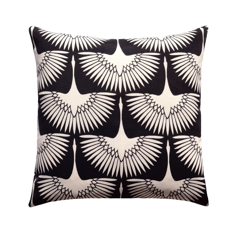 Black Cream Outdoor Pillow Cover Flock Black Outdoor Throw Etsy