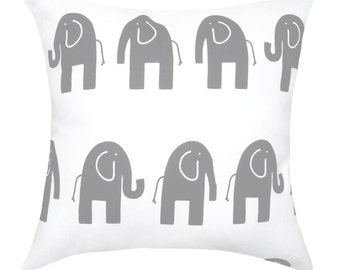 Nursery Pillow Cover - Elephant Pillow Cover - Elephants Nursery Decor- Gray and White Elephant Pillow - Elephant Storm Gray Pillow Cover