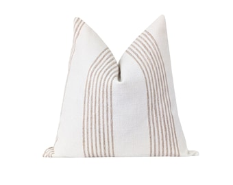 """Taupe Ivory Stripe Pillow Cover, Woven Stripe Pillow, 20"""" Double Sided Stripe Pillow Cover, Neutral Decor Pillow, Taupe Stripe Pillow Cover"""