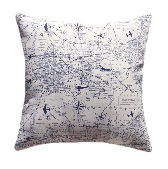Airplane Throw Pillow Air Traffic Navy Decorative Pillow Etsy Stunning Airplane Decorative Pillow
