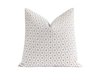 Contemporary Cut Velvet Pillow Cover, Snow White and Natural Velvet Pillow, Hexagon Cut Velvet Pillow Cover, Double Sided Snow Velvet
