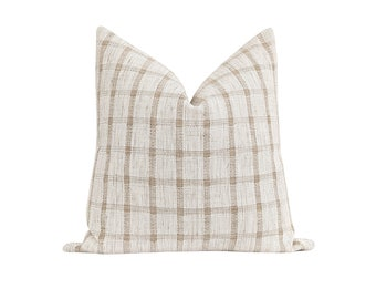 Windowpane Pillow Cover, Natural Throw Pillow Cover, Farmhouse Pillow Cover, 18 20 22 Woven Accent Pillow, Sandy Beige Check Pillow Cover