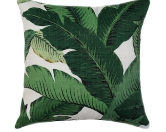 Tropical Pillow Cover // Palm Leaf Pillow Cover //Island Decor // Outdoor Pillow Cover // Swaying Palm Pillow // Banana Leaf // Hollywood