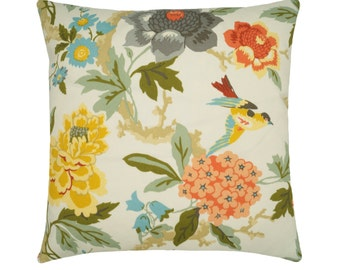 OUTDOOR Pillow Covers, Floral Throw Pillow, Floral and Bird Print Cushions Cover, Coral Peach Red Yellow Blooms, Floral Decor, Patio Pillows
