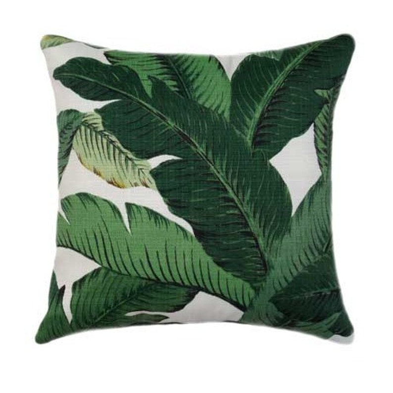 Banana Leaf Green OUTDOOR Pillow Cover Swaying Palms Aloe image 0