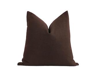 Dark Brown Linen Pillow Cover, Walnut Decorative Pillow, Linen Cushion Cover, 18 20 22 Brown Linen, Solid Brown Linen, Accent Pillow Sham