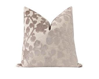 DOUBLE Sided Velvet Pillow Cover, Designer Cut Velvet Pillow Cover, 16 18 20 Floral Velvet, Beige Velvet Pillow Cover, Neutral Pillow Case