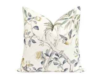 Fall Decorative Pillow Cover, Augusta Putty Floral and Bird Pillow Cover, Saffron Cream Grey Bird Pillow, Double Sided Olive and Tan Pillow