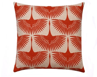 Orange Linen Mid Century Pillow Cover, Swan Print Pillow, Natural Linen and Burnt Orange Accent Pillow, Orange Pillow Cover, Flock Tigerlily