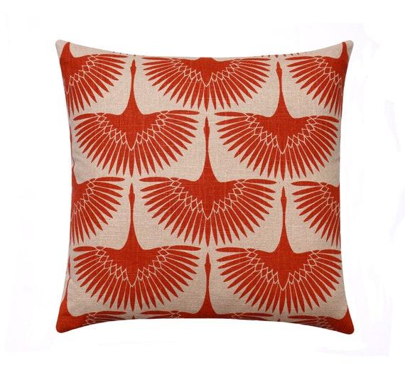 Fall Decorative Pillow Cover 20x20 Orange Designer Throw Etsy