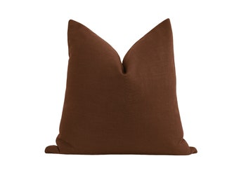 Linen Pillow Cover, Brown Linen, Double Sided Decorative Pillow Cover, Espresso Brown Pillow Case, Linen Cushion Cover, 18 20 22 Brown Linen