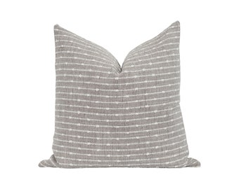 12X18 12X20 18X18 20X20 Woven Pillow Cover, Grey and Ivory Woven Stripe Pillow Cover, DOUBLE SIDED Grey Basketweave Pillow Cover, Grey Decor